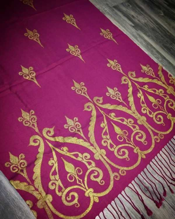 Soft light weight purple (magenta) scarf with premium gold 12th century print for a medieval experience all year long! Hand printed with my own hand carved stamps. New scarf, pre-washed, ready to wear & machine washable!