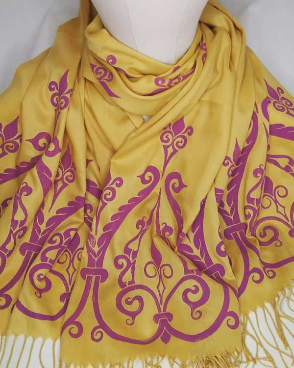 Soft light weight honey/mustard yellow scarf with purple 12th century print for a medieval experience all year long! Hand printed with my own hand carved stamps. New scarf, pre-washed, ready to wear & machine washable!