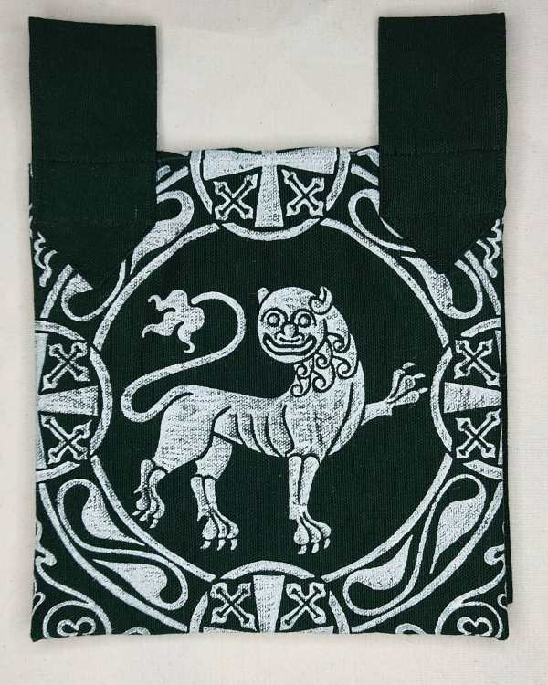 Belt pouch made from dark green cotton canvas, completely lined, hand printed with a hand carved 12th century inspired lion stamp. New, ready to use & machine washable!