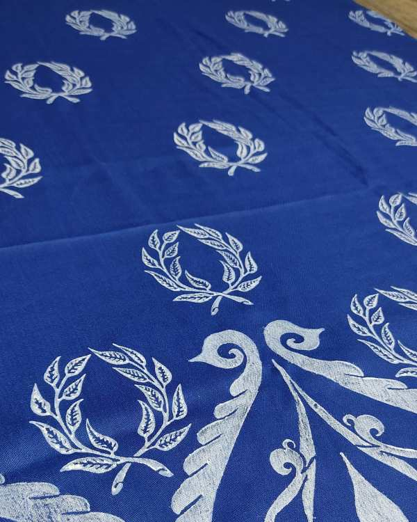 Soft lightweight blue scarf with white laurel wreath & 12th century print for a medieval experience all year long! Hand printed with my own hand carved stamps. New scarf, pre-washed, ready to wear & machine washable!