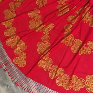 Soft light weight red scarf with premium gold Neolithic Newgrange triple spiral print for a special experience all year long! Hand printed with my own hand carved stamps. New scarf, pre-washed, ready to wear & machine washable!