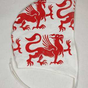 Medium white linen coif/arming cap made from lovely soft white linen fabric, handprinted in red with a hand carved 13th century inspired griffin stamp. Ready to wear, pre-washed fabric! The coif is machine washable!