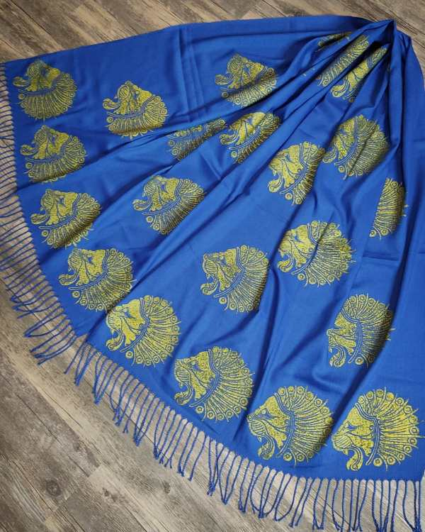 Soft lightweight blue scarf with middle eastern Achaemenid lion head inspired by period artwork fromIran dated to ca. 6th-4th century B.C.in premium gold print for a special experience all year long! Hand printed with my own hand carved stamp. New scarf, pre-washed, ready to wear & machine washable!
