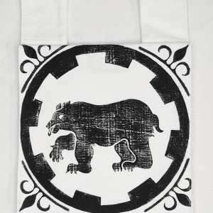 Belt pouch made from heavy white cotton fabric, completely lined with cotton fabric, hand printed with a hand carved Legion of the Bear / Legio Ursi stamp (fighting order in the SCA - Kingdom of Meridies). New, ready to use & machine washable!