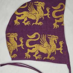 Large purple (magenta) colored linen coif/arming cap made from lovely 100% linen fabric, handprinted with a hand carved 13th century inspired griffin stamp in premium gold print. Ready to wear, pre-washed fabric! The coif is machine washable!