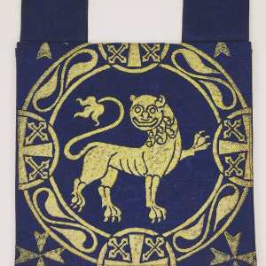 Dark blue belt pouch made from exquisite indigo blue cotton selvedge denim, completely lined with gold colored fabric, hand printed with a hand carved 12th century inspired lion stamp in premium gold ink. New, ready to use & machine washable!