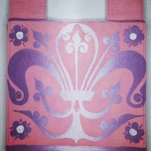 Belt pouch made from pink cotton canvas, completely lined, hand printed with a hand carved 13th century fleur-de-lis stamp. New, ready to use & machine washable!