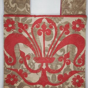Belt pouch made from gold colored and patterned fabric, completely lined with red cotton fabric, hand printed with a hand carved 13th century fleur-de-lis stamp. New, ready to use & machine washable!