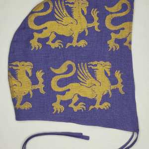 XLarge purple linen coif/arming cap made from lovely purple linen fabric, handprinted in gold premium print with a hand carved 13th century inspired griffin stamp. Ready to wear, pre-washed fabric! The coif is machine washable!