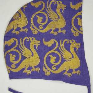 XLarge purple linen coif/arming cap made from lovely purple linen fabric, handprinted in gold premium print with a hand carved 13th century inspired dragon stamp. Ready to wear, pre-washed fabric! The coif is machine washable!
