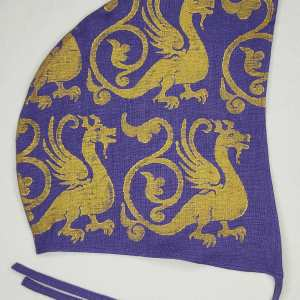 Large purple linen coif/arming cap made from lovely purple linen fabric, handprinted in gold premium print with a hand carved 13th century inspired dragon stamp. Ready to wear, pre-washed fabric! The coif is machine washable!