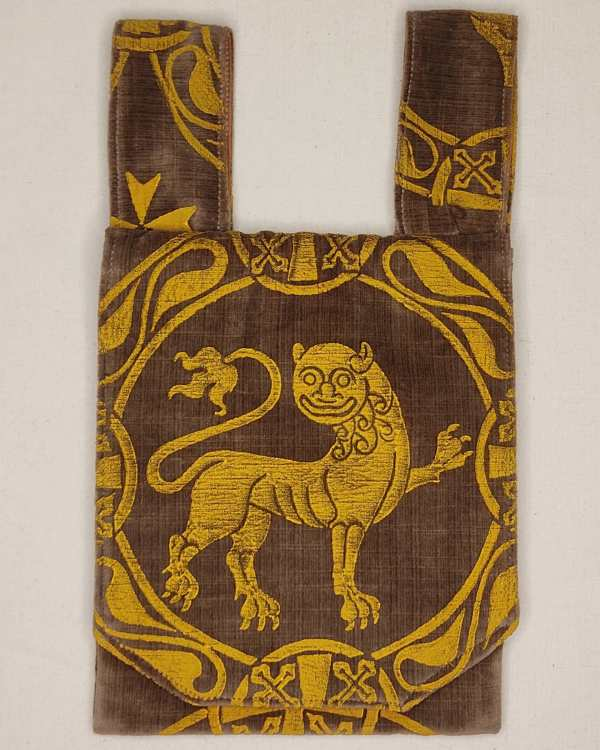 Belt pouch made from brown velvet fabric, completely lined with brown cotton fabric, hand printed with a hand carved 12th century inspired lion stamp. New, ready to use & machine washable!