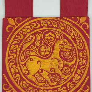 Lioness belt pouch made from lovely and durable red cotton canvas, completely lined with red cotton fabric, hand printed with a hand carved 11th century middle eastern lioness stamp. New, ready to use & machine washable!