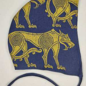 Medium dark blue linen coif/arming cap made from lovely mid-weight dark Cobalt blue 100% linen fabric, handprinted in gold premium print with a hand carved wolf stamp. Ready to wear, pre-washed fabric! The coif is machine washable!
