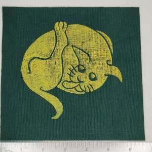 Dark green cotton canvas patch with yellow 16th century butt-licking cat print. Hand printed with my own hand carved stamp. New, pre-washed & machine washable!