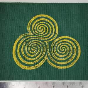 Dark green cotton canvas patches with yellow Newgrange triple spiral print. Hand printed with my own hand carved stamp. New, pre-washed & machine washable!