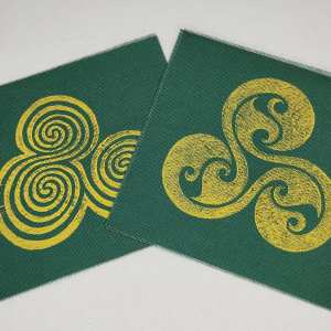 Cotton canvas patch set with 2 patches: triskele & Newgrange triple spiral print. Hand printed with my own hand carved stamps. New, pre-washed & machine washable!