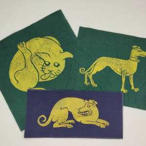 Cotton canvas patch set with 16th century butt-licking cat & 15th century dog/greyhound prints. Hand printed with my own hand carved stamps. New, pre-washed & machine washable!