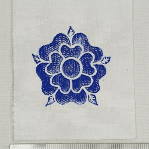 White cotton fabric patch with rose print. Hand printed with my own hand carved stamp. New, pre-washed & machine washable!