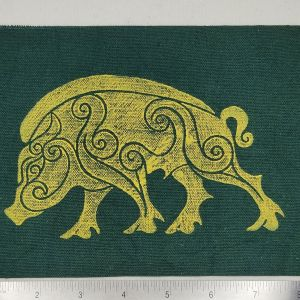 Dark green cotton canvas patch with yellow boar print. Hand printed with my own hand carved stamp. New, pre-washed & machine washable!