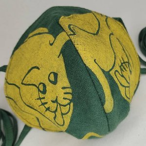 Special dark green colored linen cat face mask with long ties & white 16th century butt-licking cat print. New, pre-washed fabric, ready to wear & machine washable!