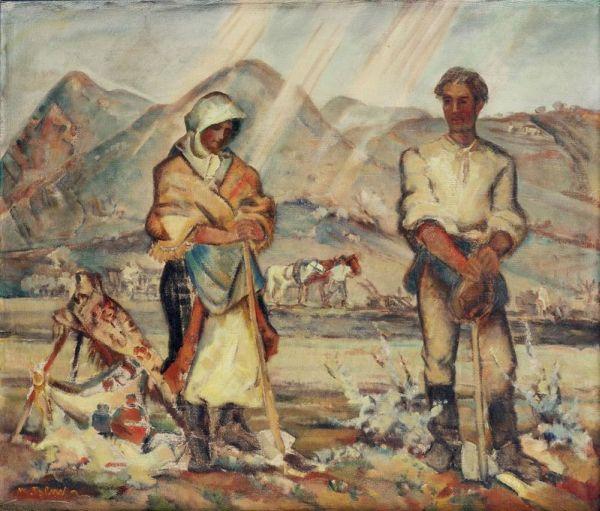 Obraz Martina Benku s názvom Slovenská rodina.