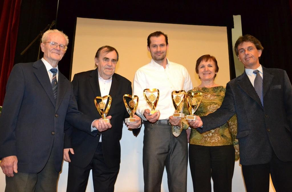 Laureáti ocenenia Račianske srdce - zľava: Bartolomej Rusina, Marián Šereda, Ján Lipiansky, Ľudmila Kiselková a Peter Khandl.