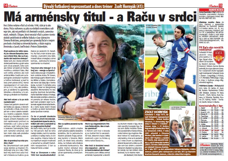 Zsolt Hornyák vyrastal v Rači, neskôr bol známy reprezentant a dnes je už úspešný futbalový tréner v zahraničí.