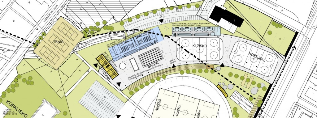 Situačný nákres rozmiestnenia objektov projektu LBG Aréna v Bratislave - Rači.
