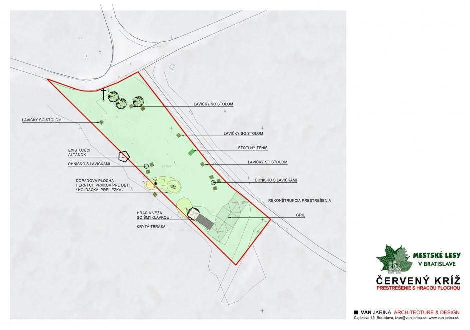 Rekonštrukcia areálu Červený kríž: Celková situácia