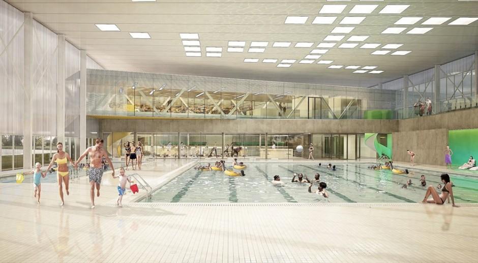 LBG Aréna: Plaváreň a hokejovú plochu vizuálne prepojí reštaurácia, v ktorej môžu rodičia tráviť čas, kým sa neskončí tréning ich detí.