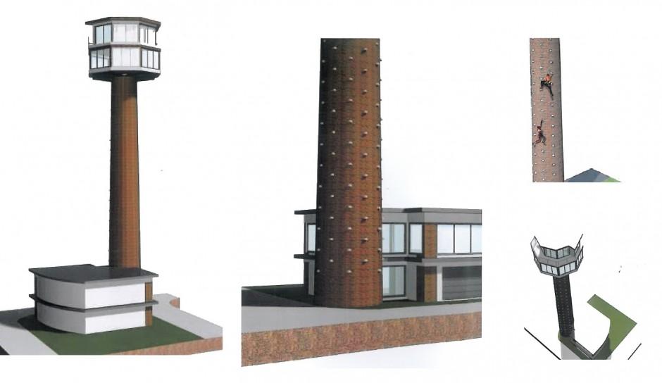 Vizualizácie komína po rekonštrukcii naznačujú funkciu bývania a športu.