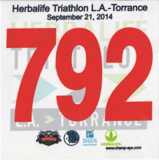 LA Tri race bib