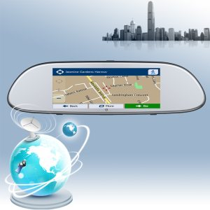 Car Mirror GPS Android 5.0 6.86 INCH HD 1080P GPS Navigation with G-SENSOR Rear View Camera Bluetooth WIFI FM GPS Auto   1