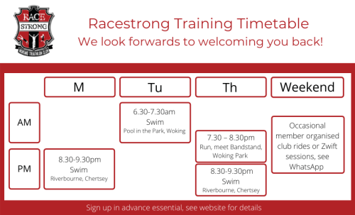 Racestrong Timetable Summer 2021