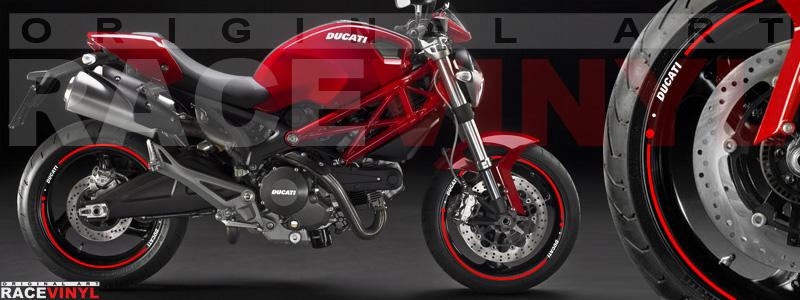Racevinyl vinyl sticker stripes pegatinas llanta moto vinilo sticker rim wheel Ducati Monster 620 696 1100 sr2 sr4 rojo