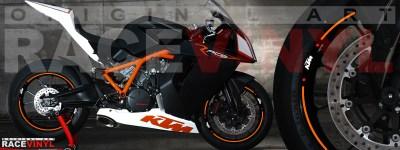 Racevinyl pegatinas llanta moto vinilo sticker rim wheel KTM Superduke 1190 RC8 naranja
