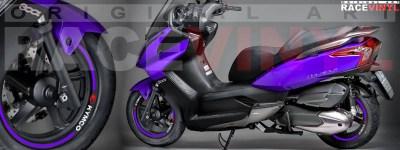 Racevinyl Kymco Superdink 125 pegatinas vinilos adhesivos llanta stickers vinyls stripes rim genericos violeta