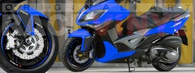 Racevinyl Kymco spuer dink venom xciting agility Adhesivos pegatina vinilo llanta moto vinyl rim sticker stripe race azul