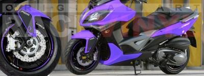 Racevinyl Kymco spuer dink venom xciting agility Adhesivos pegatina vinilo llanta moto vinyl rim sticker stripe race violeta