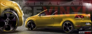 Racevinyl Volkswagen Golf GTI vinilo pegatina adhesivo Spire vinyl sticker llanta rueda amarillo