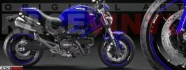 Racevinyl pegatinas llanta moto vinilo sticker rim wheel Ducati Monster azul