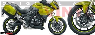 Racevinyl pegatinas llanta moto vinilo sticker rim wheel KTM Triumph Tiger 1050 amarilo fluor