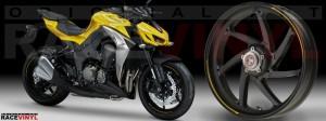 Racevinyl Kawasaki Z1000 ARROW pegatina vinilo llanta adhesivo rim sticker stripes wheel amarillo