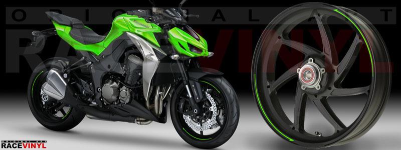 Racevinyl Kawasaki Z1000 ARROW pegatina vinilo llanta adhesivo rim sticker stripes wheel verde
