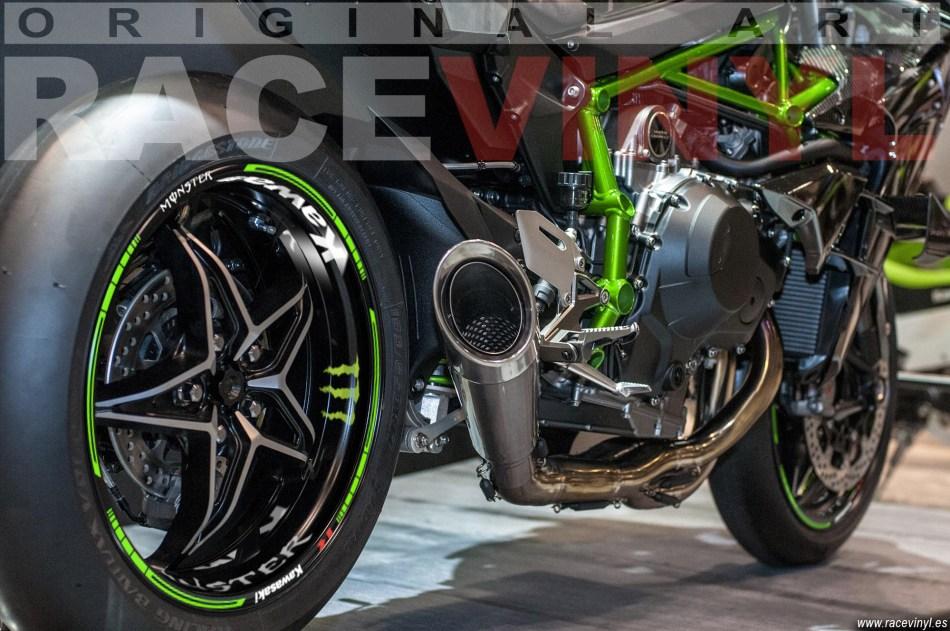 Kawasaki ninja H2R Rim Stickers Kit detail green fluor