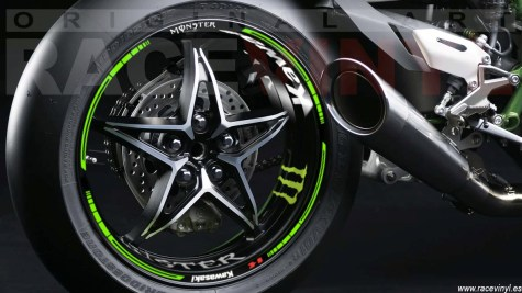 Kawasaki ninja H2R Rim Stickers Kit vinyl rear wheel single arm