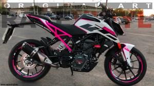 KTM Duke 125 fluor pink custom tuning rim stickers kit pro stripes vinyl motorcycle 01