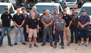 Locator UpFront's Boss of the Year Gary Coln with his employees at Raceway Auto & Truck Parts, LLC in Savannah, Tenn.