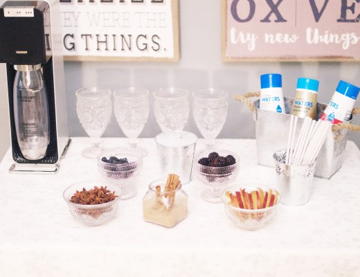 DIY SodaStream Bar for holiday entertaining with lifestyle blogger Rachael Burgess